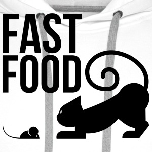 fast food - cat with mouse T-Shirts - Men's Premium Hoodie