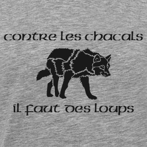 T-shirt ML Homme Loup Vs Chacal - T-shirt Premium Homme