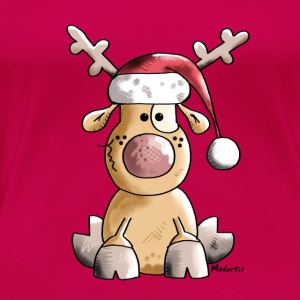 Funny Christmas Reindeer Cartoon Long Sleeve Shirts - Women's Premium T-Shirt