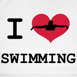 I Love Swimming Camisetas - Gorra béisbol