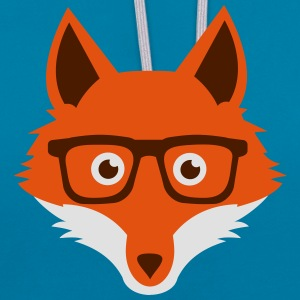 Sweet Funny hipster fox with nerd glasses Sacs et sacs à dos - Sweat-shirt contraste