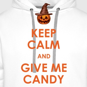 Keep Calm and Give Me Candy Halloween T-Shirts - Men's Premium Hoodie