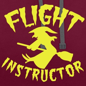 FLIGHT INSTRUCTOR witch on a broomstick Bags & Backpacks - Contrast Colour Hoodie
