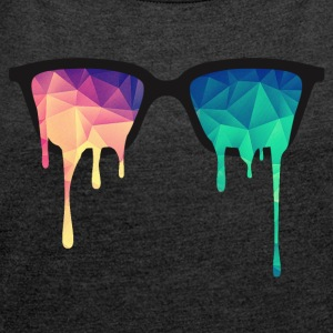 Abstract Psychedelic Nerd Glasses with Color Drops Hoodies & Sweatshirts - Women's T-shirt with rolled up sleeves