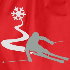 Skiers with snowflake T-Shirts - Drawstring Bag