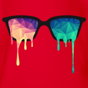 Abstract Psychedelic Nerd Glasses with Color Drops Shirts - Organic Short-sleeved Baby Bodysuit