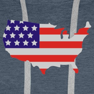 Dark navy Stars and Stripes of USA, United States of America  Men's Tees - Men's Premium Hoodie