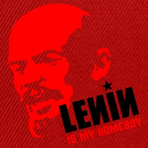 Red Lenin is my homeboy (place in white on red) Men's Tees - Snapback Cap