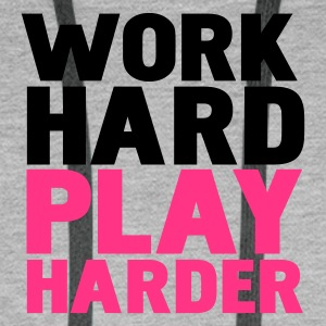 Gråmelerad work hard play harder T-shirts - Premiumluvtröja herr