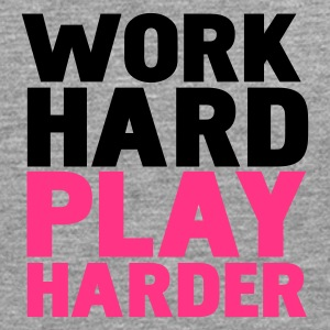 Gråmelerad work hard play harder T-shirts - Långärmad premium-T-shirt herr