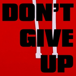 Rosso don't give up T-shirt - Felpa con cappuccio bicromatica