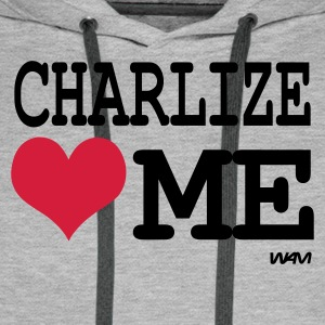Gris chiné charlize loves me by wam T-shirts - Sweat-shirt à capuche Premium pour hommes
