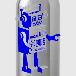 Sky blue roboter retro robot  T-Shirts - Water Bottle