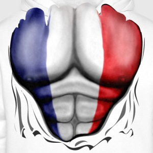 France Flag Ripped Muscles, six pack, chest t-shir - Men's Premium Hoodie