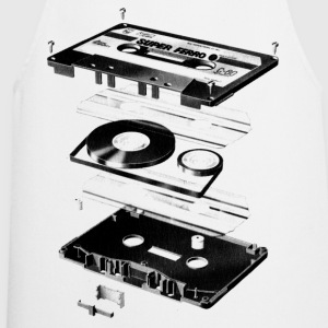 White Compact Cassette- Tape - Music - 80s Men's Tees - Cooking Apron