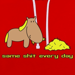 Rood Zelfde shit different day paard pony rijden T-shirts - Contrast hoodie