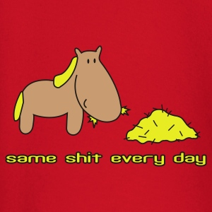 Rood Zelfde shit different day paard pony rijden T-shirts - T-shirt