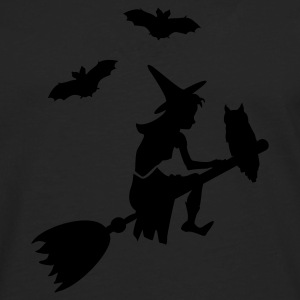 Oliven heks, der red en kost / witch on her broomstick (1c) T-shirts - Herre premium T-shirt med lange ærmer