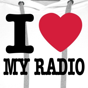 Blanc i love my radio / I heart my radio T-shirts - Sweat-shirt à capuche Premium pour hommes