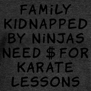 family kidnapped by ninjas need dollars for karate lessons - Women's Boat Neck Long Sleeve Top