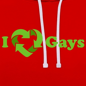 Wine I love Gays / I recycle Gays T-Shirts - Kontrast-Hoodie