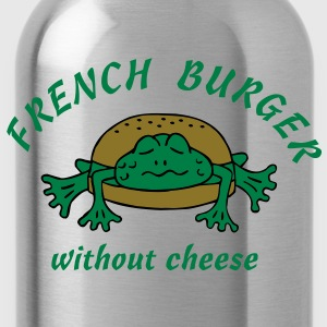 Froschburger French Burger Fastfood Frog ohne Käse without cheese Frankreich France T-shirts - Drikkeflaske