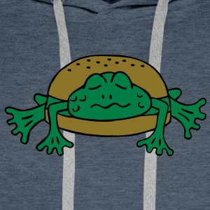Froschburger French Burger Fastfood Frog ohne Käse without cheese Frankreich France Koszulki - Bluza męska Premium z kapturem