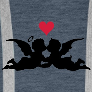 good and evil love heart Tee shirts - Sweat-shirt à capuche Premium pour hommes