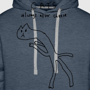 Cats. Always After Cheese T-Shirts - Men's Premium Hoodie