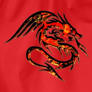 Feuer Drache, fire dragon, digital, rot,  T-Shirts - Turnbeutel