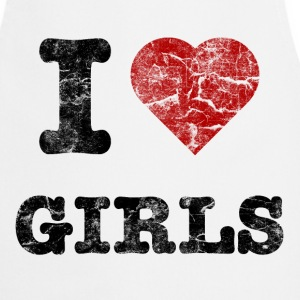 i love girls vintage dark T-shirts - Keukenschort
