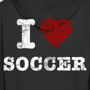 i_love_soccer_vintage_hell T-Shirts - Men's Premium Hooded Jacket