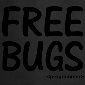 Free Bugs instead of Free Hugs. Programmer Nerd T-shirts - Forklæde