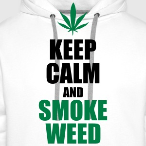 Keep Calm and Smoke Weed Tee shirts - Sweat-shirt à capuche Premium pour hommes