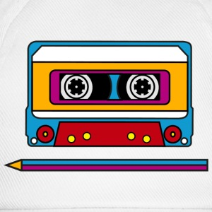 Retro mix tape, pencil, music, audio, walkman Magliette - Cappello con visiera