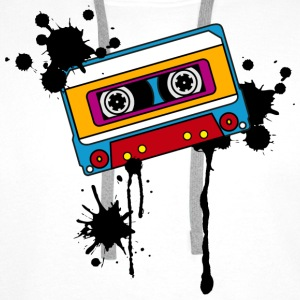 Retro mix tape, splash, splatter, music, 80er T-shirts - Mannen Premium hoodie