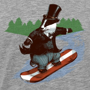 Snowboader Badger Long Sleeve Shirts - Men's Premium T-Shirt