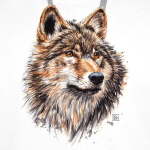White Wolf Painting Bags & Backpacks - Men's Premium Hoodie