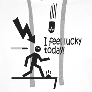 i feel lucky today i / bad luck Langarmshirts - Männer Premium Hoodie