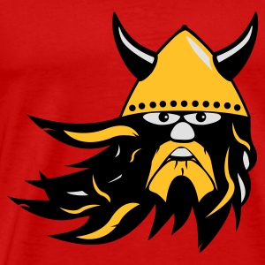 viking warrior with beard and helmet Shirts met lange mouwen - Mannen Premium T-shirt