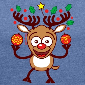 Cool Reindeer Decorating for Christmas Hoodies & Sweatshirts - Women's T-shirt with rolled up sleeves
