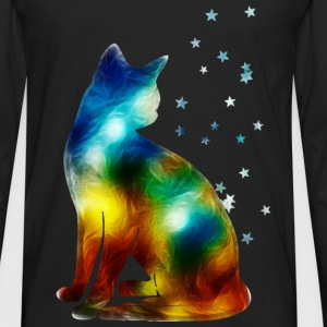 Space Cat on the Milky Way, Galaxy, Pussy, Star T-Shirts - Men's Premium Longsleeve Shirt