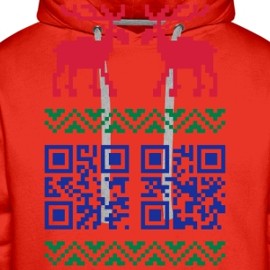 Rot Ugly Christmas Sweater QR Code Happy New Year! T-Shirts - Männer Premium Hoodie
