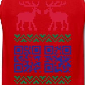 Rot Ugly Christmas Sweater QR Code Happy New Year! T-Shirts - Männer Premium Tank Top