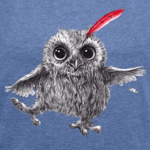Chief Red - Happy Owl - T-shirt med upprullade ärmar dam