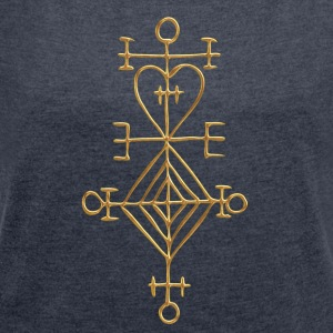 Ástarstafur, Love Charm, Magic Rune Amulet Hoodie - Women's T-shirt with rolled up sleeves