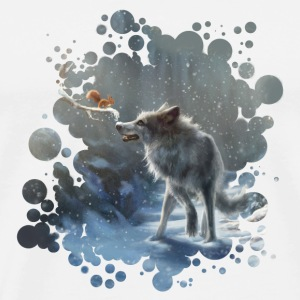 White/white winter wolf Caps & Hats - Men's Premium T-Shirt