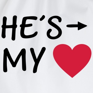 He is my Heart I love my Boyfriend He's mine him  Aprons - Drawstring Bag