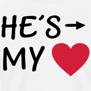 He is my Heart I love my Boyfriend He's mine him  Aprons - Men's Premium T-Shirt
