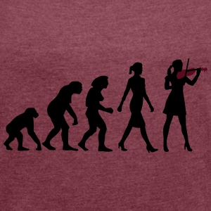 evolution_female_violin_player_112014_b_ Accessoires - Frauen T-Shirt mit gerollten Ärmeln